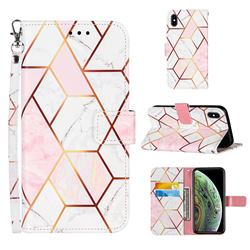 Pink White Stitching Color Marble Leather Wallet Case for iPhone XS Max (6.5 inch)