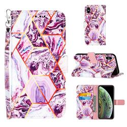 Dream Purple Stitching Color Marble Leather Wallet Case for iPhone XS Max (6.5 inch)
