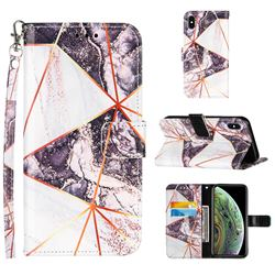 Black and White Stitching Color Marble Leather Wallet Case for iPhone XS Max (6.5 inch)
