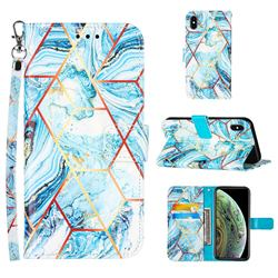 Lake Blue Stitching Color Marble Leather Wallet Case for iPhone XS Max (6.5 inch)