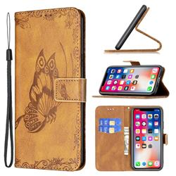 Binfen Color Imprint Vivid Butterfly Leather Wallet Case for iPhone XS Max (6.5 inch) - Brown