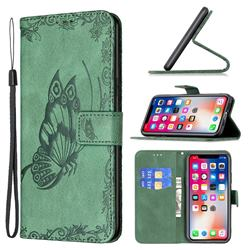 Binfen Color Imprint Vivid Butterfly Leather Wallet Case for iPhone XS Max (6.5 inch) - Green
