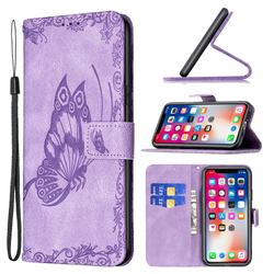 Binfen Color Imprint Vivid Butterfly Leather Wallet Case for iPhone XS Max (6.5 inch) - Purple