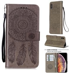 Embossing Dream Catcher Mandala Flower Leather Wallet Case for iPhone XS Max (6.5 inch) - Gray