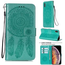 Embossing Dream Catcher Mandala Flower Leather Wallet Case for iPhone XS Max (6.5 inch) - Green