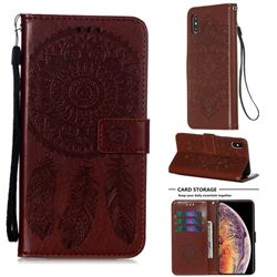 Embossing Dream Catcher Mandala Flower Leather Wallet Case for iPhone XS Max (6.5 inch) - Brown