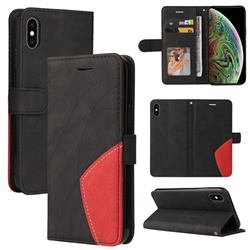 Luxury Two-color Stitching Leather Wallet Case Cover for iPhone XS Max (6.5 inch) - Black