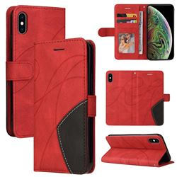 Luxury Two-color Stitching Leather Wallet Case Cover for iPhone XS Max (6.5 inch) - Red