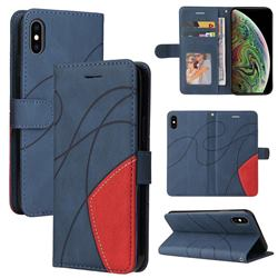 Luxury Two-color Stitching Leather Wallet Case Cover for iPhone XS Max (6.5 inch) - Blue