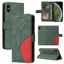 Luxury Two-color Stitching Leather Wallet Case Cover for iPhone XS Max (6.5 inch) - Green