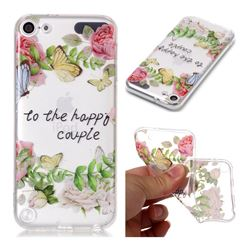 Green Leaf Rose Super Clear Soft TPU Back Cover for iPod Touch 5 6