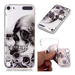 Black Flower Skull Super Clear Soft TPU Back Cover for iPod Touch 5 6