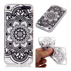 Black Mandala Flower Super Clear Soft TPU Back Cover for iPod Touch 5 6
