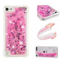 Dynamic Liquid Glitter Sand Quicksand TPU Case for iPod Touch 5 6 - Pink Love Heart