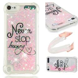 Never Stop Dreaming Dynamic Liquid Glitter Sand Quicksand Star TPU Case for iPod Touch 5 6