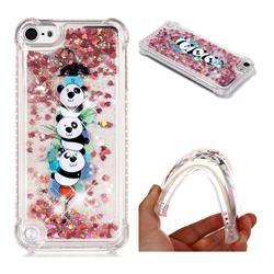 Three Pandas Dynamic Liquid Glitter Sand Quicksand Star TPU Case for iPod Touch 5 6