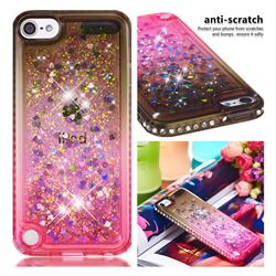 Diamond Frame Liquid Glitter Quicksand Sequins Phone Case for iPod Touch 5 6 - Gray Pink