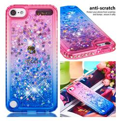 Diamond Frame Liquid Glitter Quicksand Sequins Phone Case for iPod Touch 5 6 - Pink Blue