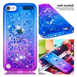 Diamond Frame Liquid Glitter Quicksand Sequins Phone Case for iPod Touch 5 6 - Blue Purple
