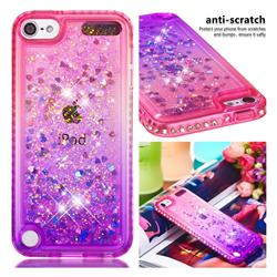 Diamond Frame Liquid Glitter Quicksand Sequins Phone Case for iPod Touch 5 6 - Pink Purple
