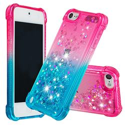 Rainbow Gradient Liquid Glitter Quicksand Sequins Phone Case for iPod Touch 5 6 - Pink Blue
