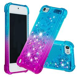 Rainbow Gradient Liquid Glitter Quicksand Sequins Phone Case for iPod Touch 5 6 - Blue Purple