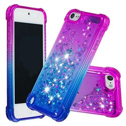 Rainbow Gradient Liquid Glitter Quicksand Sequins Phone Case for iPod Touch 5 6 - Purple Blue