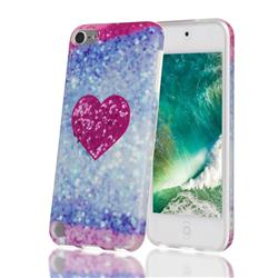 Glitter Rose Heart Marble Clear Bumper Glossy Rubber Silicone Phone Case for iPod Touch 5 6