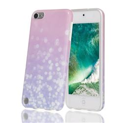 Glitter Pink Marble Clear Bumper Glossy Rubber Silicone Phone Case for iPod Touch 5 6