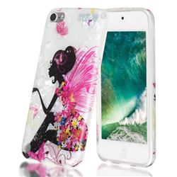 Flower Butterfly Girl Shell Pattern Clear Bumper Glossy Rubber Silicone Phone Case for iPod Touch 5 6