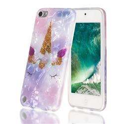 Unicorn Girl Shell Pattern Clear Bumper Glossy Rubber Silicone Phone Case for iPod Touch 5 6