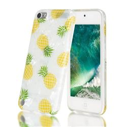 Yellow Pineapple Shell Pattern Clear Bumper Glossy Rubber Silicone Phone Case for iPod Touch 5 6