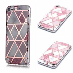 Pink Rhombus Galvanized Rose Gold Marble Phone Back Cover for iPod Touch 5 6