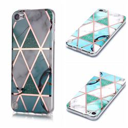 Green White Galvanized Rose Gold Marble Phone Back Cover for iPod Touch 5 6