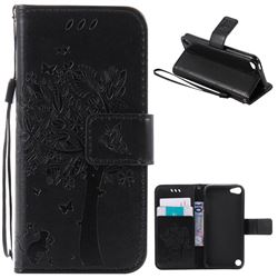 Embossing Butterfly Tree Leather Wallet Case for iPod touch iTouch 5 6 - Black
