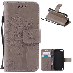 Embossing Butterfly Tree Leather Wallet Case for iPod touch iTouch 5 6 - Grey