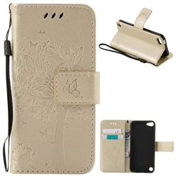 Embossing Butterfly Tree Leather Wallet Case for iPod touch iTouch 5 6 - Champagne