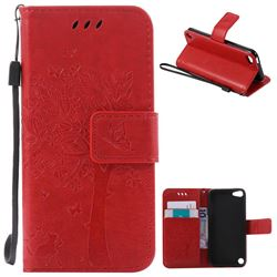 Embossing Butterfly Tree Leather Wallet Case for iPod touch iTouch 5 6 - Red