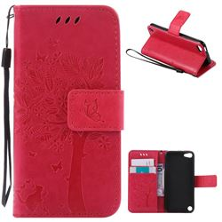 Embossing Butterfly Tree Leather Wallet Case for iPod touch iTouch 5 6 - Rose
