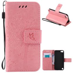 Embossing Butterfly Tree Leather Wallet Case for iPod touch iTouch 5 6 - Pink