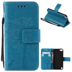 Embossing Butterfly Tree Leather Wallet Case for iPod touch iTouch 5 6 - Blue