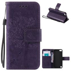 Embossing Butterfly Tree Leather Wallet Case for iPod touch iTouch 5 6 - Purple
