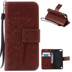 Embossing Butterfly Tree Leather Wallet Case for iPod touch iTouch 5 6 - Brown