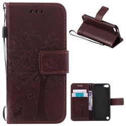 Embossing Butterfly Tree Leather Wallet Case for iPod touch iTouch 5 6 - Coffee