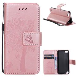 Embossing Butterfly Tree Leather Wallet Case for iPod Touch 5 6 - Rose Pink
