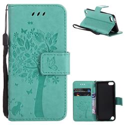 Embossing Butterfly Tree Leather Wallet Case for iPod Touch 5 6 - Cyan