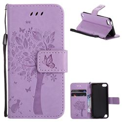 Embossing Butterfly Tree Leather Wallet Case for iPod Touch 5 6 - Violet