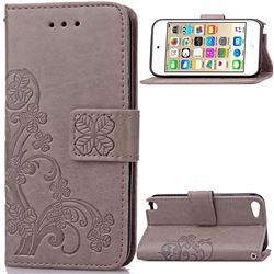 Embossing Imprint Four-Leaf Clover Leather Wallet Case for iPod touch iTouch 5 6 - Gray