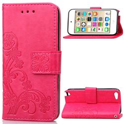 Embossing Imprint Four-Leaf Clover Leather Wallet Case for iPod touch iTouch 5 6 - Rose