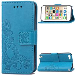 Embossing Imprint Four-Leaf Clover Leather Wallet Case for iPod touch iTouch 5 6 - Blue